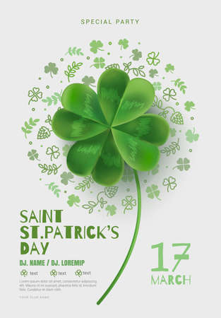 clover leaf shape: Poster in the pub on St Patricks Day. A poster with a large four-sheeted clover can be used for a party or a concert. White background with room for text. Cover design template.
