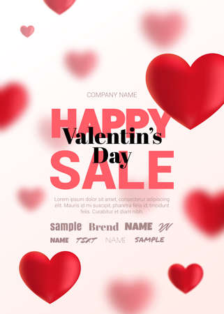 Modern poster with blurry hearts for sale. The flyer can be used in promotions, website, magazine advertising.