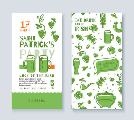 patrics: Design Template tickets to the pub on St Patricks Day. Style a simple line. Illustration