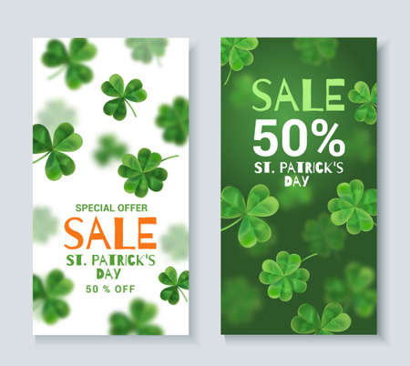 patrics: Collection discount banners on St. Patricks Day. Banners can be used on the web, magazine shop. 3d effect. Illustration