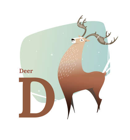 glossary: Animal alphabet vector. Flat style. Brown deer standing on the letter D. Educational glossary. Character the deer for childrens books, textbooks, illustrating. Cartoon style.