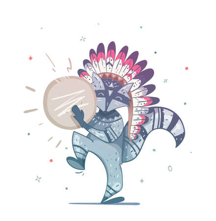 Raccoon tribal shaman with a tambourine dance. Childrens illustration of a raccoon. Illustration can be used to print on a T-shirt on the cover of the book, an invitation to a holiday.