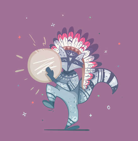 Tribal Waschbär Schamane mit einem Tamburin Tanz. Kinder-Darstellung eines Waschbären auf einem lila Hintergrund. Illustration kann verwendet werden, um auf einem T-Shirt, die Abdeckung des Buches, Einladung für einen Urlaub zu drucken. Standard-Bild - 77888766