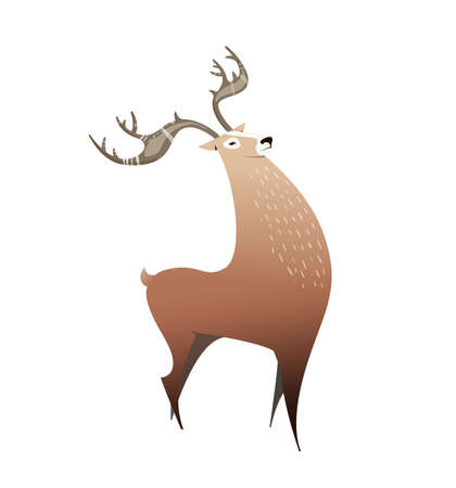 Wild deer with big horns. illustration cartoon style, simple. Deer can be used in book illustration, childrens coloring books, flyers, print on a T-shirt. Vector character. Illusztráció