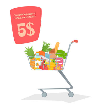 botton: A trolley with food in the store. Products for stock simple design, there is room for text. Vector illustration.