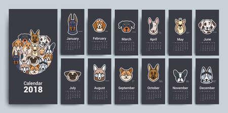 Design template calendar for 2018, vector illustration.