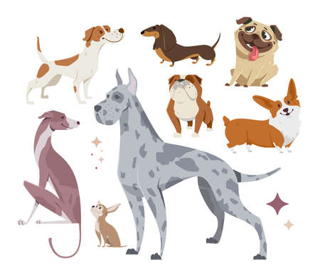 Vector illustration, set of funny dogs, on a white background. Vettoriali