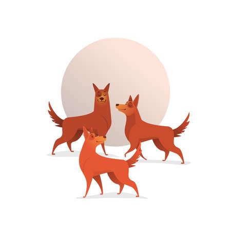 3 つの陽気な犬のイラスト。