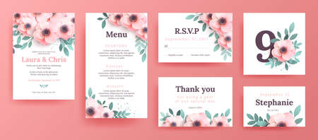 card template pink and flower