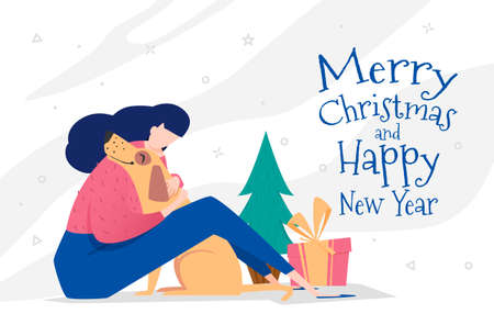 merry christmas and happy new year with dog and a girl hugging