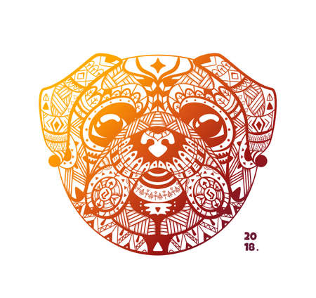 Template design of the tribe head pug.