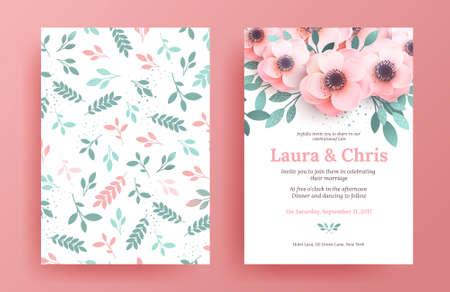 繊細な結婚式招待状 templates.pink と柔らかい色