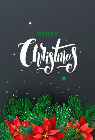 手書きのレタリングやクリスマス ツリーの枝を持つクリスマスのグリーティング カード。ベクトルの図。