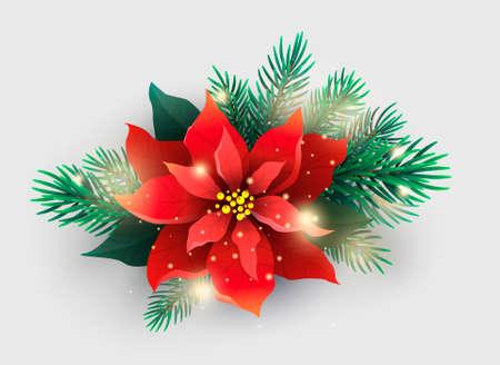 クリスマス ツリーの枝と赤いポインセチア植物  イラスト・ベクター素材