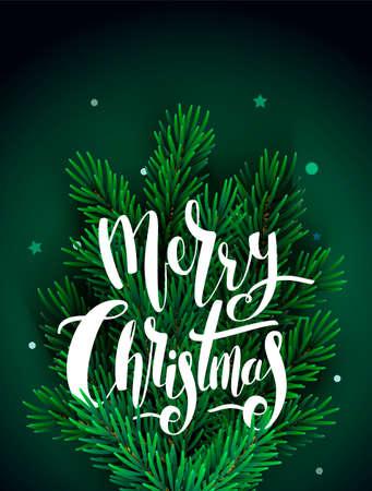 手書きレタリングとクリスマス ツリーのクリスマスのグリーティング カード。ベクトルの図。