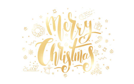 Merry Christmas golden text on white background. Иллюстрация