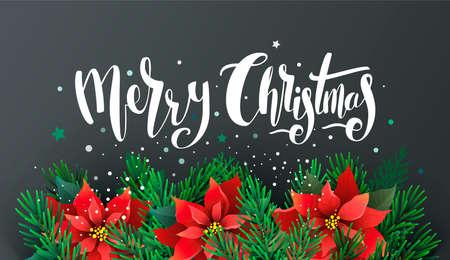 ポインセチアとモミの枝を持つクリスマス デザイン  イラスト・ベクター素材