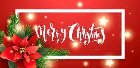 赤いクリスマス バナーのベクトル イラスト