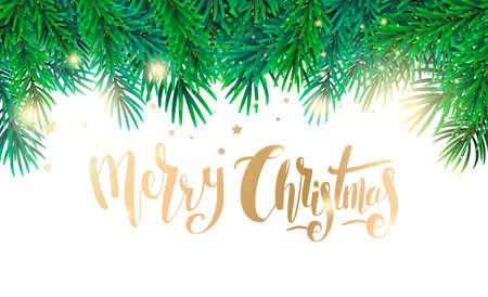 テキストとモミの木の枝をクリスマス カード