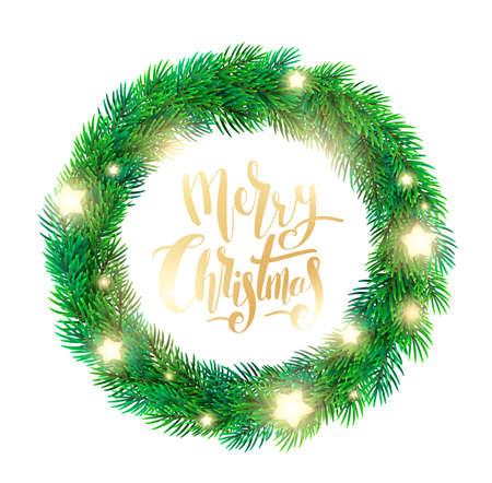 モミの枝、輝く星のクリスマス リース  イラスト・ベクター素材