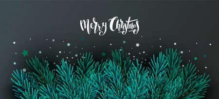 クリスマス バナー テキストとモミの木の枝を