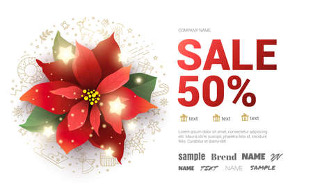 Christmas big sale poster with poinsettia flower. Иллюстрация