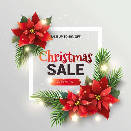 クリスマス販売プロモーションのバナー。  イラスト・ベクター素材