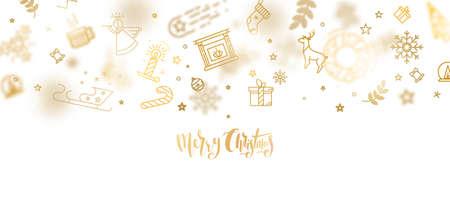 ゴールドのキラキラ クリスマス レタリング デザイン