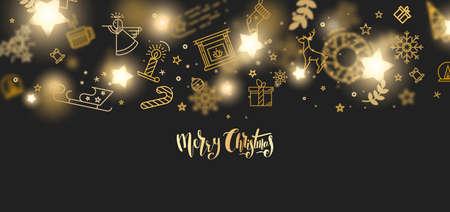 メリー クリスマス ゴールド キラキラ レタリング デザイン。  イラスト・ベクター素材