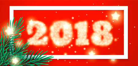 2018 New Year background with Christmas tree Иллюстрация