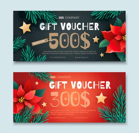 クリスマスと新年のギフト券  イラスト・ベクター素材