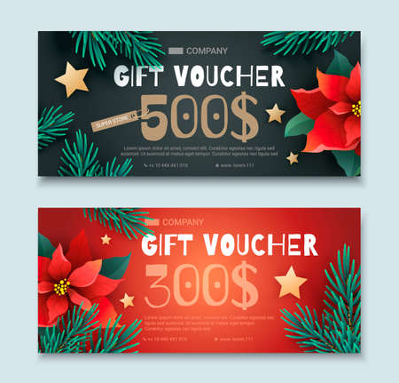 Christmas and New Year Gift Voucher Иллюстрация