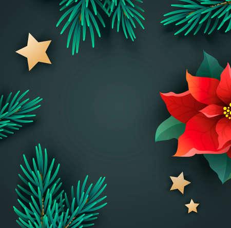 ポインセチアとモミの枝を持つクリスマス バナー