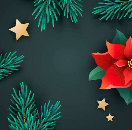 Christmas banner with poinsettia and fir branches Иллюстрация