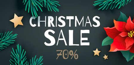 大きなクリスマス販売プロモーションのバナーやチラシ