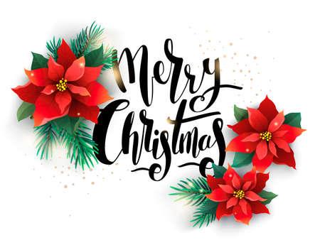 花で飾られたクリスマス イラスト 写真素材
