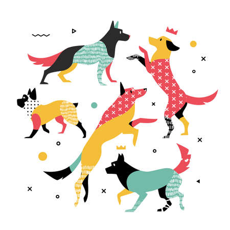 Bright, simple print of 5 dogs. Vector illustration can be used for printing on T-shirts.