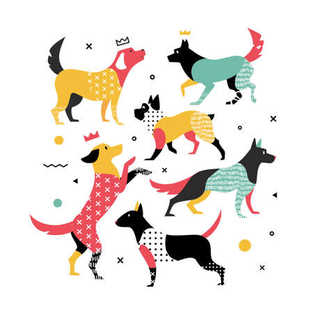 ノートブックのカバーのためのメンフィス犬。犬は、2018年のシンボルです。ベクトルの図。