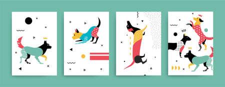 メンフィス スタイル ベクトルの犬のイラスト  イラスト・ベクター素材