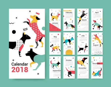 テンプレート カレンダー 2018 メンフィス スタイルのベクトル図で犬と一緒に