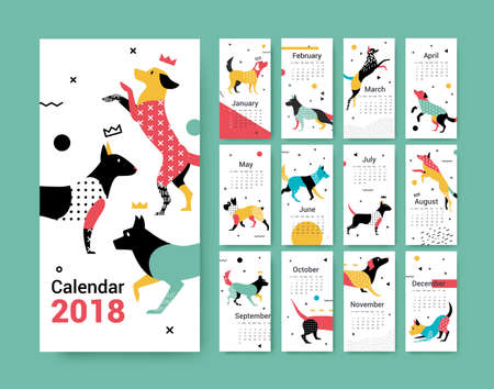 Template calendar 2018 with a dog in Memphis style vector illustration