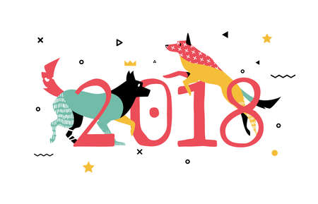 2018 ベクトル図のための犬をバナーします。  イラスト・ベクター素材