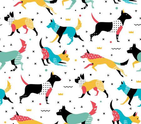 メンフィス スタイルの図で犬とシンプル モダンなパターン。