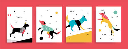 A set of cards for the holidays with a dog in Memphis style Illustration Иллюстрация