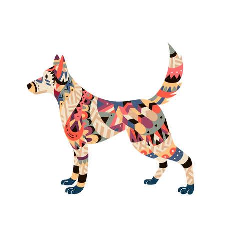部族スタイルベクトルイラストで孤立した犬