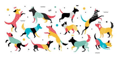 90 年代の幾何学的な要素を持つ犬年様式