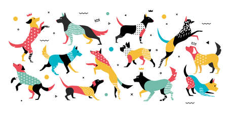 Dogs with geometric elements in 90s years style