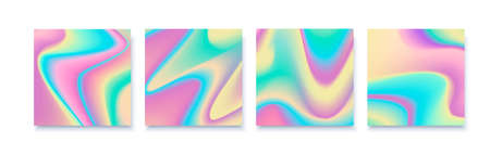 Hologram abstract backgrounds set with white backdrop. Trendy gradient backdrop with hologram. Иллюстрация