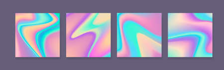 Set of holographic bright colorful backgrounds. Colorful design for cards, covers, prints or posters