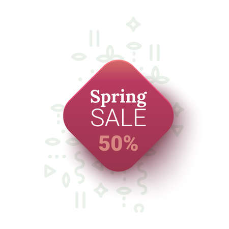 Spring Sale banner with geometrical figures